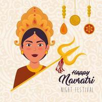 glückliches navratri Feierplakat mit Durga und Dreizack
