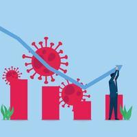 mannen har diagram för att växa upp metafor ekonomisk återhämtning vektor