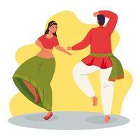 Paar mit traditioneller Kleidung tanzen vektor