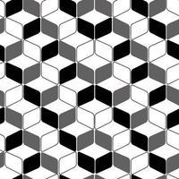 geometrisches abgerundetes Rechteck monochromes Vektor nahtloses Muster für Drucke und Web.