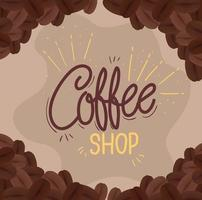 Café-Banner mit Kaffeebohnen vektor