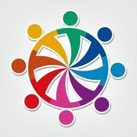 Gruppe von acht Personen Logo in einem Kreis. Personen Teamwork Holding vektor