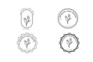 minimal feminin modern botanisk blommig organisk abstrakt logo design vektor