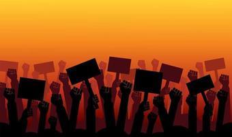 Gruppe von Fäusten in der Luft erhoben. Gruppe von Demonstrantenfäusten in der Luftvektorillustration erhoben vektor