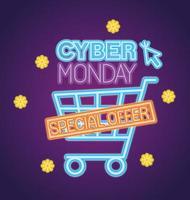 cyber måndag neon med vagn och markör vektor design