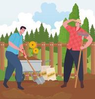 män trädgårdsarbete utomhus