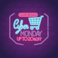 cyber måndag neon med vagn vektor design