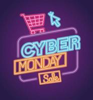 cyber måndag neon försäljning banner