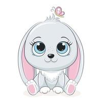 söt kanin med fjäril. vektorillustration för baby shower, gratulationskort, festinbjudan, mode kläder t-shirt tryck. vektor