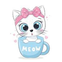Tierillustration mit der niedlichen kleinen Katze in der Tasse. vektor