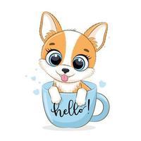 Tierillustration mit niedlichem kleinen Hund in der Tasse. vektor
