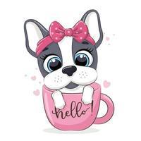 djurillustration med söt liten hund i kopp. vektor