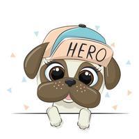 Tierillustration mit niedlichem Jungenhund in der Kappe. vektor