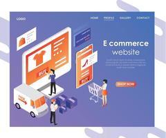 e-handelswebbplats isometrisk design vektor