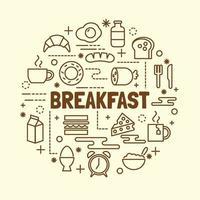 Frühstück minimale dünne Linie Symbole gesetzt vektor