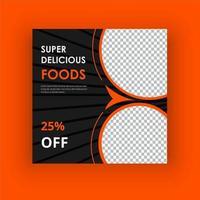 super läcker mat sociala medier postmall vektor