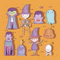söt halloween med små karaktärer vektor