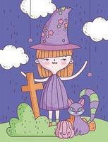 söt halloween affisch med liten häxa vektor
