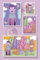 niedliches Halloween-Plakatset