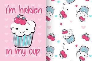 handgezeichneter süßer Cupcake mit Mustersatz