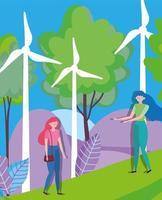 Frauen mit Windenergieanlagen für Ökologiekonzept vektor