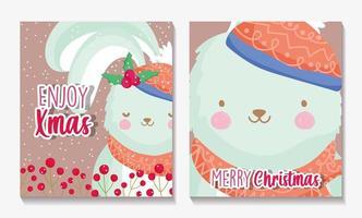 Frohe Weihnachten Kartenset mit glücklichem Kaninchen vektor