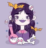 söt halloween affisch med liten flicka vektor