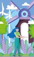 Frau mit Windenergieanlagen für Ökologiekonzept vektor