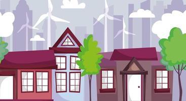 hus med väderkvarnenergi för ekologikoncept vektor