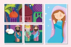 Frohe Weihnachten und Krippe Kartenset vektor