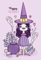 süßes Halloween-Plakat mit kleiner Hexe