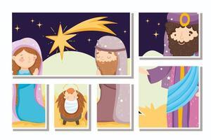 Frohe Weihnachten und Krippe Kartenset