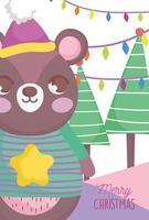 Frohe Weihnachten Plakat mit glücklichem Bären