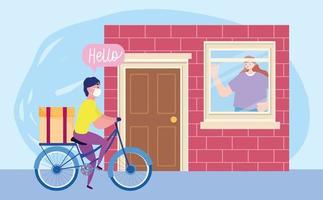 Konzept der sicheren Lieferung während des Coronavirus mit Auftragseingang des Kunden