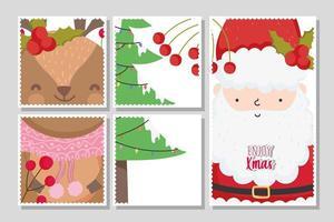 god julkortuppsättning med glad jultomte och ren vektor