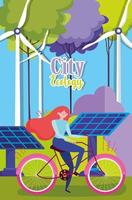 Frau, die ein Fahrrad im Freien in einer Öko-Stadt fährt