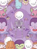 söt halloween affisch med små karaktärer vektor