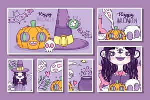 süßes Halloween-Plakatset mit kleiner Hexe