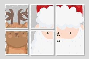 Frohe Weihnachtskarte mit fröhlichem Weihnachtsmann und Rentier
