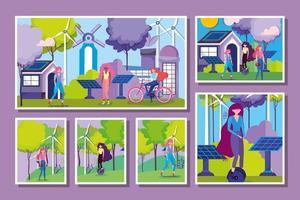 Frauen, die Outdoor-Aktivitäten in einer Öko-Stadt machen