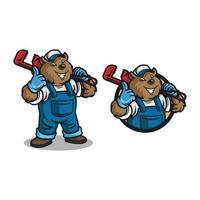 Björn rörmokare logotyp maskot tecknad. vektor illustration