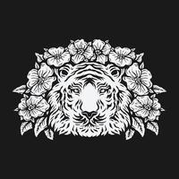 Tigerkopf umgeben von Rosenblüte. Schwarzweißzeichnung. Vektorillustration
