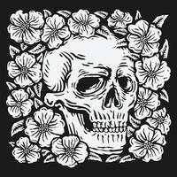 Handzeichnung Schädel umgeben von Rose Blume Vektor-Illustration