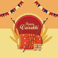 fröhliches Vaisakhi im flachen Design vektor