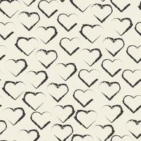 sömlös valentin mönster bakgrund med monokrom hjärta form stämpel vektor