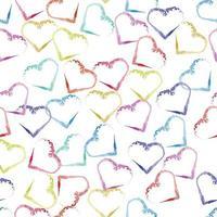 sömlös valentin mönster bakgrund med flerfärgad hjärta form stämpel vektor