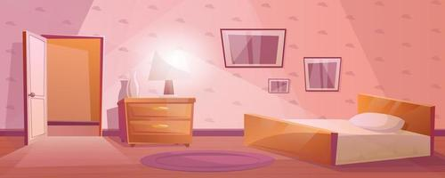 Schlafzimmer mit einem großen Bett und einer offenen Tür. Nachttisch oder Nachttisch mit Lampe und Vase. lila Teppich auf dem Boden. strukturierte Tapete mit Bildern an der Wand. Cartoon-Innenraum in rosa Farbe