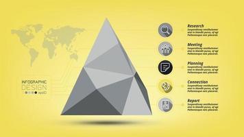 polygonale Pyramide zur Analyse. präsentiert Daten und berichtet über das Geschäftswachstum.