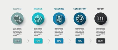 Kreis mit langem Schatten Infografik Design. Erläuterung des Plans und Darstellung der Ergebnisse des Geschäftswachstums.