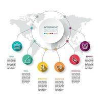 Zirkulärer Arbeitsprozess zur Anzeige von Ergebnissen und Geschäfts- oder Bildungsberichten für das Infografik-Design. vektor